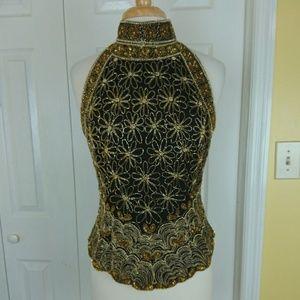 Vintage Lawrence Kazar silk beaded mock neck top